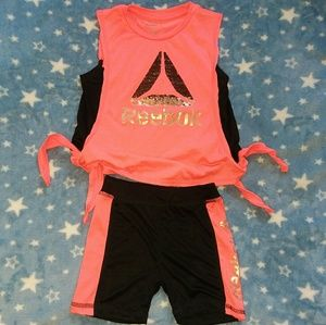 Little girls Reebok shorts set 4t pink black